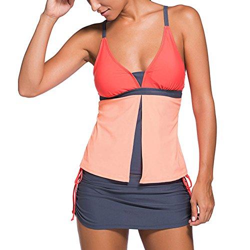 Damen Zwei Stück Tankini set Highdas Plus Size Drucken Bikini Bademode Oberteile + Höschen S M L XL XXL XXXL Orange