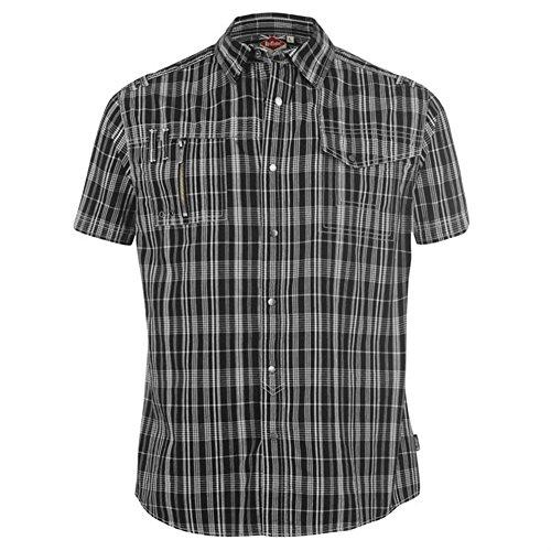 Lee Cooper Herren Kurzarm Hemd, kariert, verschiedene Farben, Gr. S-XXL Black