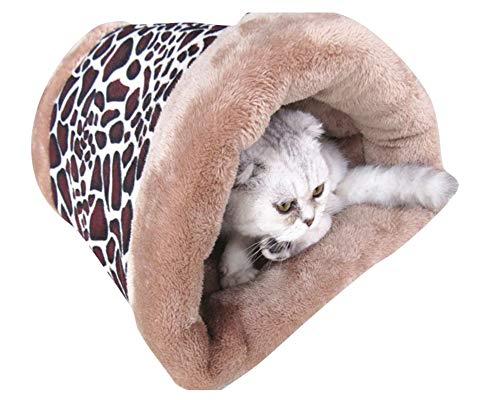 GUOCU Heimtierbedarf Zwei in Eins Haustier Schlafsack für Katzen Katzenbett Katzenhöhle Fleece Warme Geeignet für Kätzchen Welpen Braun B