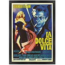 ConKrea POSTER MANIFESTO ORIGINALE CINEMA CON CORNICE - INCORNICIATO - La dolce Vita - Dimensione 70x100cm - Stile Tradizionale Nero