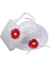 Decus 1 Set Schön Niedlichen Weiß Mädchen Sonnenhut Weiß Blume mit Weiß Taschen für Kind