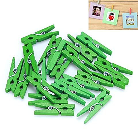Mini wooden clip,50 Pcs 25mm Mini Wooden Photo Paper Peg Clothespin Clothes Pin Clips By Sunshine D Weding Decoration Cards Notes Memo Pegs Pin Clips Green