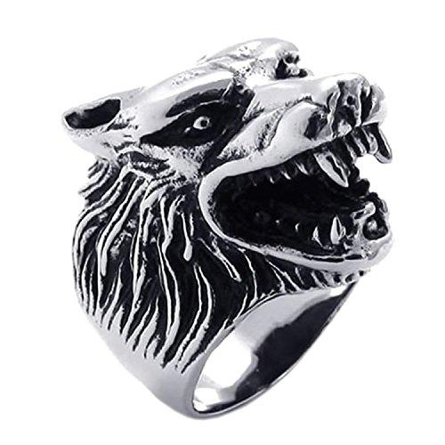 Anillo de hombres - TOOGOO(R) anillo de joyeria para hombre y motorista, acero inoxidable, cabeza de Lobo gotica, negro + plata, tamano 12