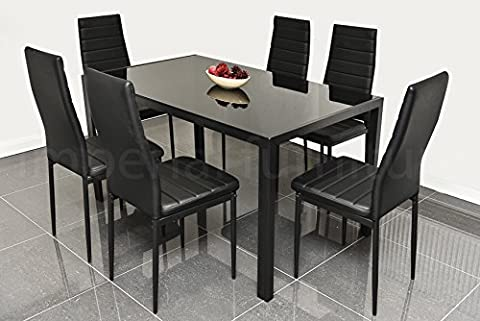 DESIGNER STYLE BLACK GLASS DINING TABLE SET WITH 6 FAUX LEATHER CHAIRS