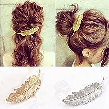 OULII 2pcs piume   foglia a forma di Clip Pin artiglio accessori capelli  (oro + ff73245715dd