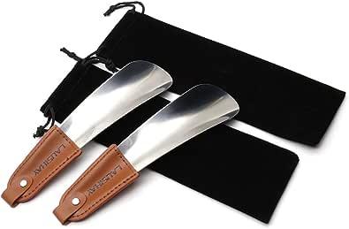 2 pc Chausse-pied - Chausse-pied acier inoxydable avec lanière en cuir - Élégant chausse-pied portable en 16 cm- Facile à utiliser, parfait pour le voyage - Accessoire Gentleman Classique