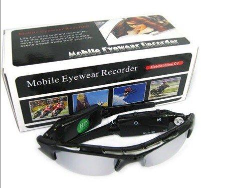 Occhiali video spia da sole con videocamera 640x480 nascosta e fotocamera spy