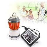 Lanterna da campeggio solare Mosquito Zapper tenda luce, LED di ricarica USB lampada repellente per zanzare, con 2000 mAh batteria (portatile e impermeabile) (con pannello solare + cavo USB)