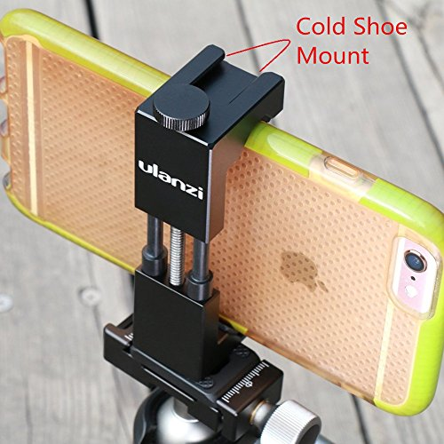 Hot Wireless Shoe (Metall Telefon Stativhalterung mit Hot Shoe Mount-Ulanzi Smartphone Halter Video Rig Stativ Mount Adapter - Schwarz)