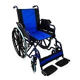 Zusammenfaltbarer Rollstuhl mit Selbstantrieb | Mit herunterklappbare Armlehnen und herausnehmbare Fußstützen | Hohe Sicherheit und einfache Bedienung | In Blauen Farben | Sitzbreite 43 cm | Maximale Belastbarkeit 100 kg | Giralda Modell | Mobiclinic
