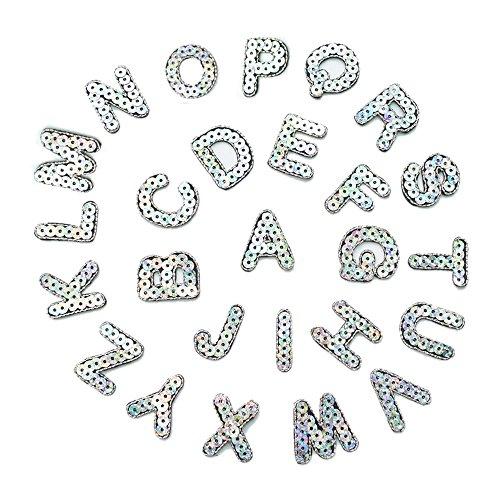 Lentejuelas con letras del alfabeto A-Z Sew hierro en parche insignia Jeans ropa Applique 26alfabeto adhesivo de costura applique 27mm
