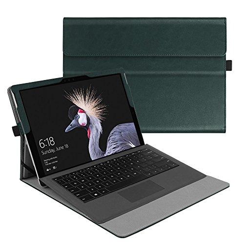 Fintie Hülle für Microsoft Surface Pro 6 (2018) / Pro 5 (2017) / Pro 4 / Pro 3 - Multi-Sichtwinkel Hochwertige Tasche Schutzhülle aus Kunstleder, Type Cover kompatibel, Dunkelgrün