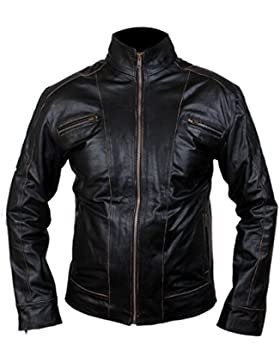 Leatherly Chaqueta de hombre RIVET Real Cuero Negro Chaqueta Distressed Faded Seams Motociclista Chaqueta