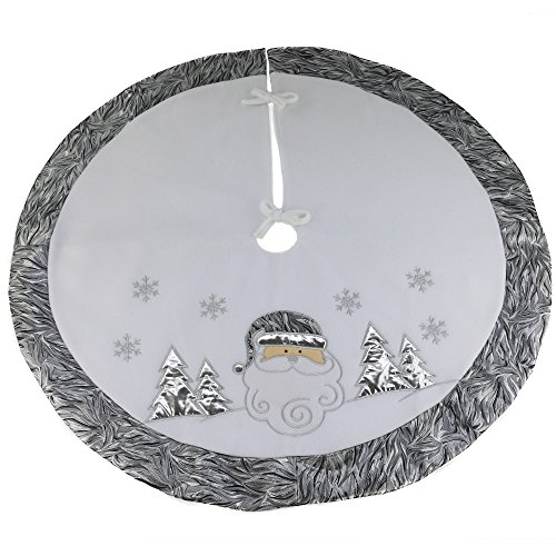 Wewill Brand Luxury Thick Christmas Tree Skirt Decoration Santa Scene Tree Skirt Home Ornament with Silver Border, 35-Inch/ 90CM Diameter(Style 4)