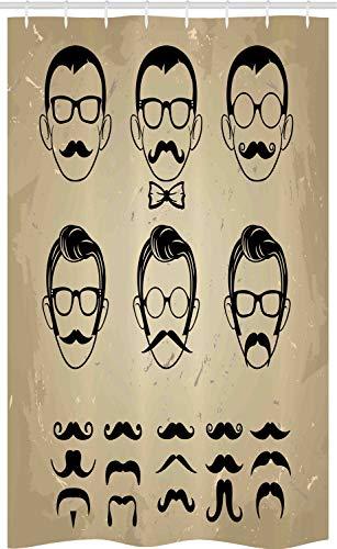 ABAKUHAUS Geek Schmaler Duschvorhang, Männliches Gesicht Schnurrbart Haar, Badezimmer Deko Set aus Stoff mit Haken, 120 x 180 cm, Grau weiß Beige und Schwarz