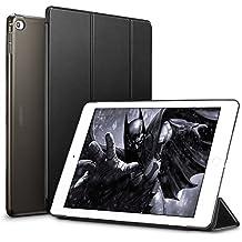 ESR Funda iPad Air 2 Silicona [Auto-Desbloquear] y Función de Soporte [Ligera] de Cuero Sintético y Plástico Duro Transparente Esmerilado Smart Cover Cáscara para Apple iPad Air 2 -Negro