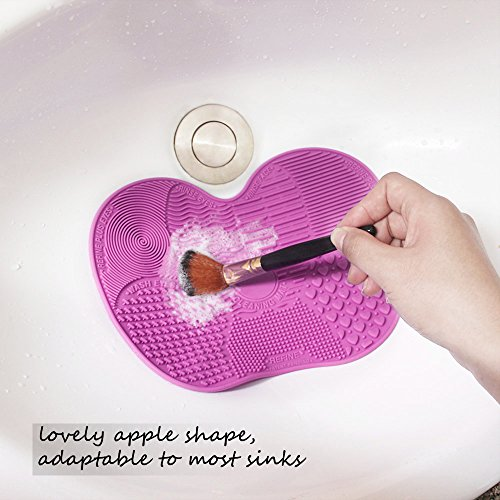 Makeup Brush Cleaner, ESARORA Makeup Brush Cleaner Pad Set of 2 Cosmetic Brush Cleaning Mat Portable Washing Tool Scrubber Suction Cup (Light Purple)