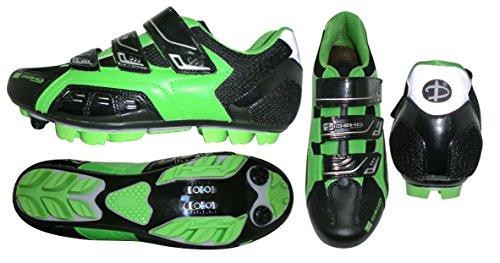 Deko Sports, scarpe ciclismo mountain bike, modello New Cliff, colore nero/verde fluorescente (45)