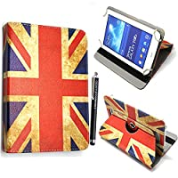 Kamal StarŽ Universal Premium Quality PU Leather 360 Stand Case Cover Fits All Android Tablets devices + Stylus (UNIVERSAL 8.0' INCH, Vintage England British Flag 360)