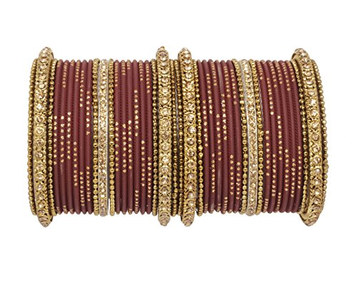 Sanara Traditional style Gorgeous Bridal maroon color bangles set for women wedding...