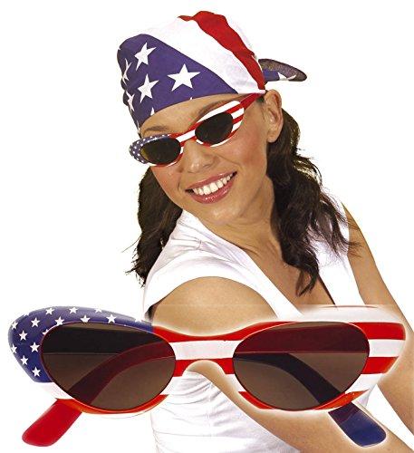 * USA SONNENBRILLE * als Verkleidung für Halloween, Karneval oder Amerika Mottoparty // FEMALE // Geburtstag Kindergeburtstag Stars Stripes Fan Brille rot weiss blau (Star Brille)