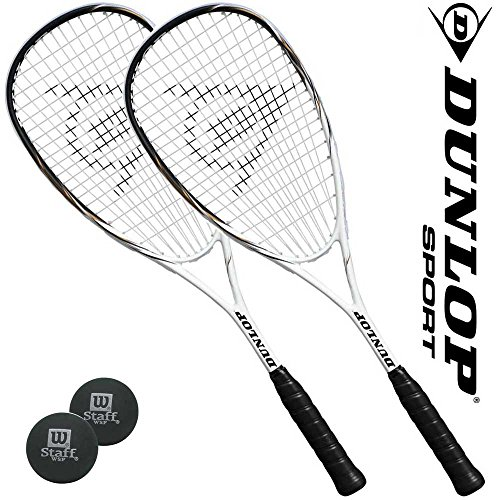 Preisvergleich Produktbild Dunlop Squashset = 2 x FURY 40 Squashschläger + Hüllen + 2 Bälle 1*rot