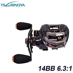 Trulinoya TS1200 14BB 6.3:1 Left Hand Bait Casting Fishing Reel 13+1 Ball Bearings One-way Clutch Reels Black