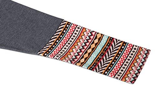 T Shirt Femme Manches Longues Lâche Tunique Blouse Casual Tops avec Boutons Gris -impression