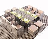 Polyrattan Essgruppe Tischset Würfel Cube für 10 Personen grau