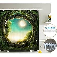 XSHL Tejido de Cortina de Ducha Sets, Resistente al Agua Digital Impresión Granero Rústico de