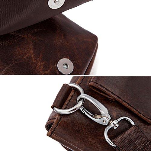 Zhuhaitf Mens Unisex Cowhide Leather Soft Mini Waist Bag Shoulder Bag Crossbody Bag for Halloween Gift Coffee