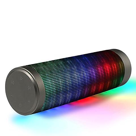 Hip-Hop-Lautsprecher Portable Hi-Fi Wireless Bluetooth-Lautsprecher mit buntem LED-Licht Eingebaute Mikrofon-Unterstützung Freisprechfunktion AUX-Eingang für iPad iPhone MP3 Laptop Android Smart Phone