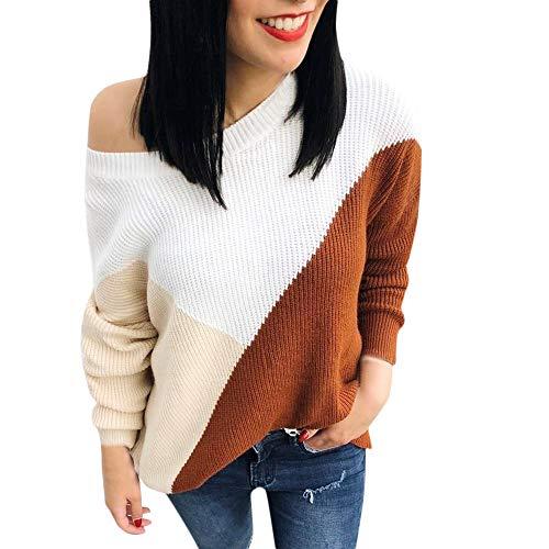 ♫♫ Amlaiworld Damen Stricken Locker Langarmshirts Gemütlich Sport Outdoor Pullover Blusen Freizeit Klassische Flickwerk pullis