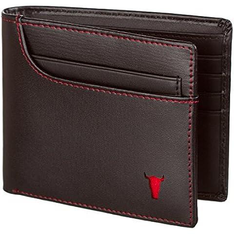 Cartera de cuero para hombres, cartera, bolso, cartera de cuero genuino con dinero en efectivo y tarjeta de la ranura, negro, de TORRO