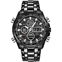 MISSWongg_Reloj Reloj Acero Inoxidable, Deportivo para Hombre con Pantalla Dual y Reloj analógico Digital con