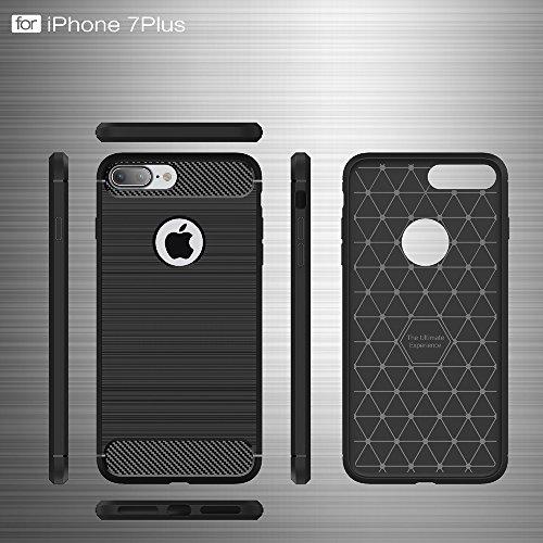 DBIT Apple iPhone 7 Plus Custodia ,Coperchio di Protezione Compatto in Fibra di Carbonio con Cassa Antiurto in Silicone Ultra Morbido e Leggero TPU Case Cover per Apple iPhone 7 Plus Smartphone,Rosso Grigio