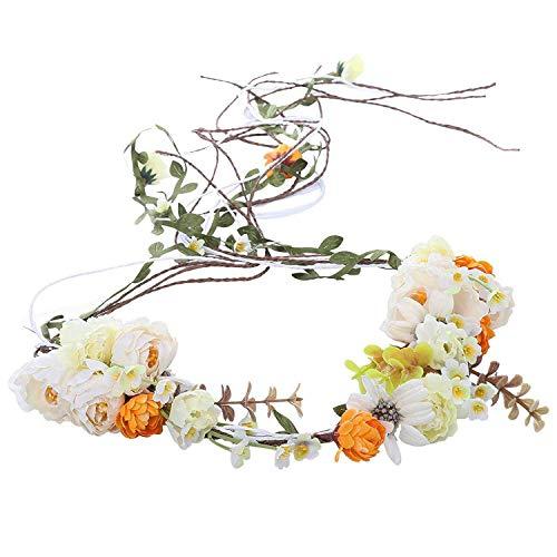 AWAYTR Boho Braut Blume Girlande Stirnband - Frauen Mädchen Einstellbare Baum Rattan Blatt Floral Haar Kranz Hochzeit Fotografie Dekoration (Beige-1) (Filigranes Stirnband)