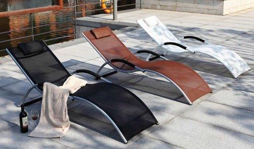 lettino da esterno in alluminio textilene sdraio prendisole per ... - Lettini Prendisole Per Esterno