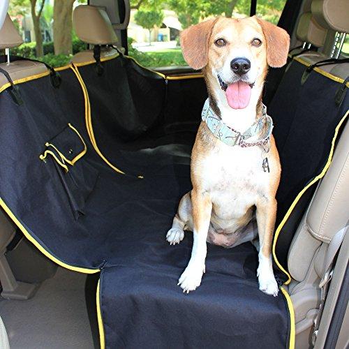 TierWell Premium Autoschondecke für Hunde - Schützt Rücksitz vor Schmutz und Haaren - Teilbar - Waschbar - Geruchsneutral- mit Schlitz für Sicherheitsgurt -