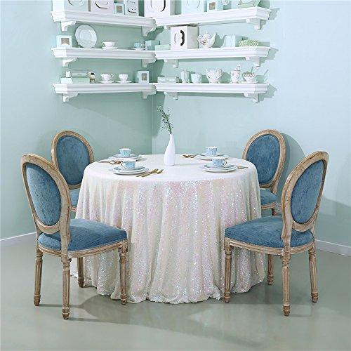 Zdada Runde Tischdecke Glitzernden Pailletten Stoff Glitzer Pailletten Tisch Cover Bettwäsche für Elegante Hochzeit Party Event Banquet decoration-iridescent-90inch