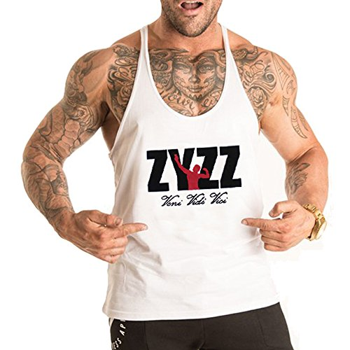 Alivebody Männer Gym Sleeveless Shirt Tank Top T-Shirt Bodybuilding Sport Weste Weiß L