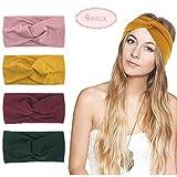 KQueenStar Damen Gestrickt Stirnband - 4Stück Häkelarbeit Schleife Headwrap Design Stirnband Winter Kopfband Haarband Headwrap Ohr Wärmer (Colorful B)