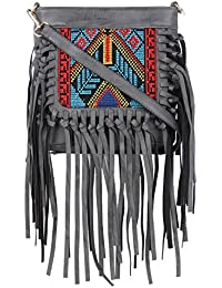 Sling Bags For Women By Fur Jaden, Stylish Grey Colour Branded Sling Bag For College Girls With Tassels