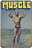 qidushop Muscle Magazine York Rogue Fitness Bodybuilding Reproduction en métal décoratif pour Femme 30 x 45 cm...
