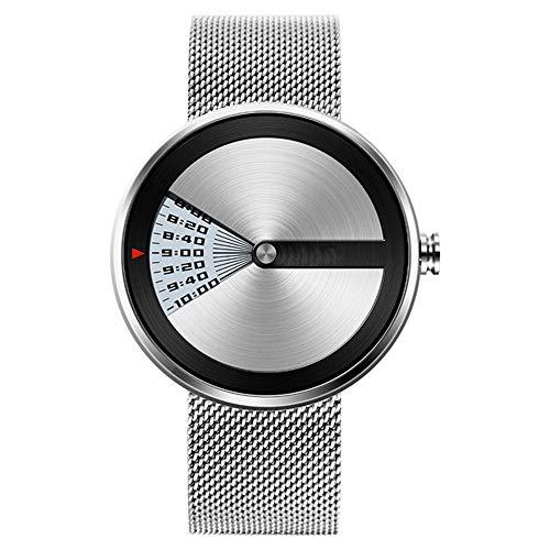 LCDYPersönlichkeit Strudel Kreative Uhr - Kein Zeiger Männliche Und Weibliche Studenten Paar Lässig Mit Wasserdichten Einfarbigen Automatikuhr,White (Männliche Rolex-uhren)