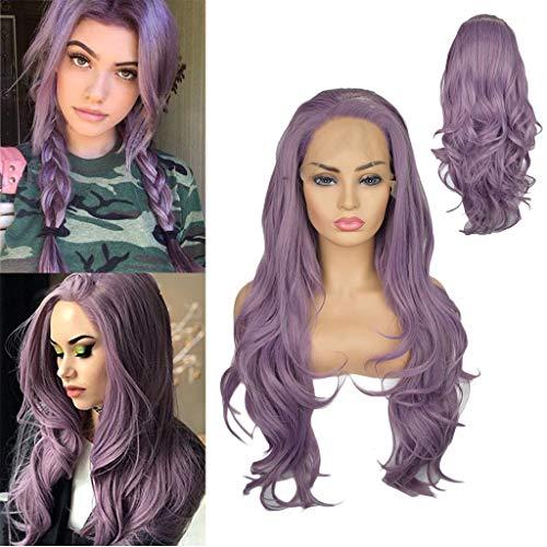 Solike 24 '' Longues Violet Perruques à Cheveux Ondulés Perruque Synthétique Sexy Résistant à la Chaleur des Femmes Cosplay Party Utilisation Quotidienne