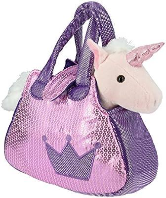 Bolso brillante rosa y lila con un Unicornio rosa de Peluche- 28cm Calidad Soft