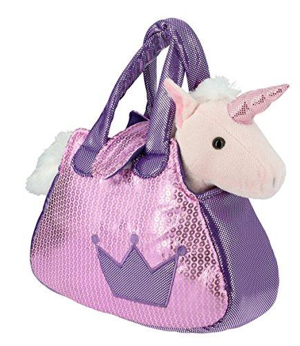 Bolso brillante rosa y lila con un Unicornio rosa de Peluche- 28cm Cal