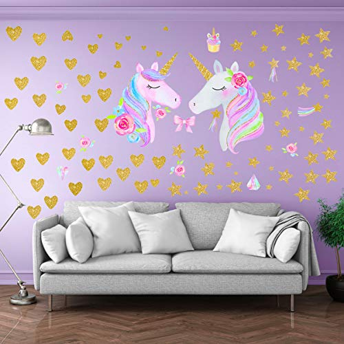 Unicorn Wall Stickers for Girls Boys Bedroom, Qkurt 2 Pack of Large Vinyl Home Decal for Kids Living Room Bedroom Girls Room Décor