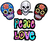 i-Patch - Patches - 0013 - Stickerei - Applikation - Aufnäher - Totenkopf - Skull - Peace - Love - Aufnäher Patches - Aufbügler - Patches zum aufbügeln - Applikation zum aufbügeln - Totenkopf